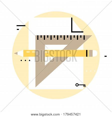 Graphic design icon. Sketching, drawing, product design flat line business vector illustration banner for mobile and web graphics