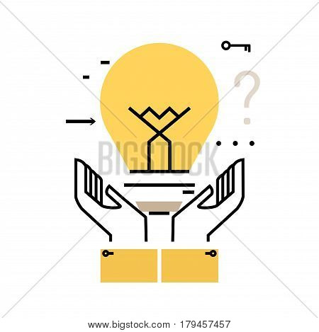 Brainstorming flat line business vector illustration design banner. Creative thinking, analysis, education, research, business idea background. Light bulb design for mobile and web graphics
