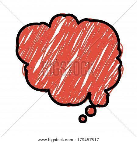 orange color pencil drawing silhouette of cloud speech vector illustration
