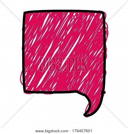 magenta color pencil drawing silhouette of square speech vector illustration