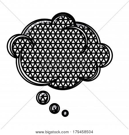 silhouette cloud speech with metal grid of background vector illustration