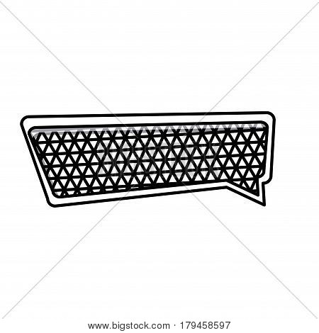 silhouette rectangle speech with metal grid of background vector illustration