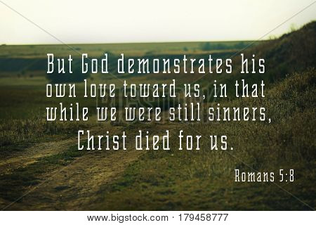 Religious verse on landscape background. Easter celebration concept