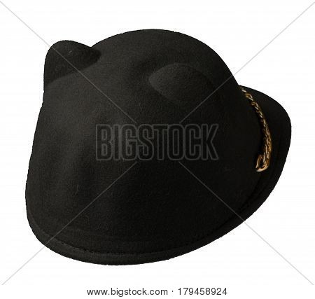 Hat Isolated On White Background .knitted Hat .black Hat