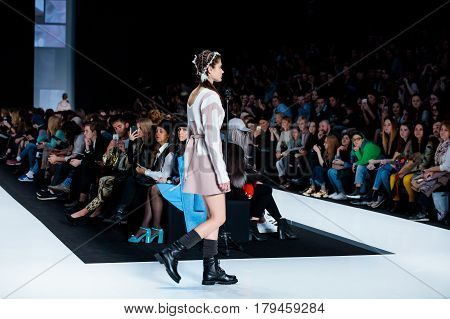 MOSCOW RUSSIA - MARCH 16 2017: Model walk runway for KSENIASERAYA catwalk at Fall-Winter 2017-2018 at Mercedes-Benz Fashion Week Russia.