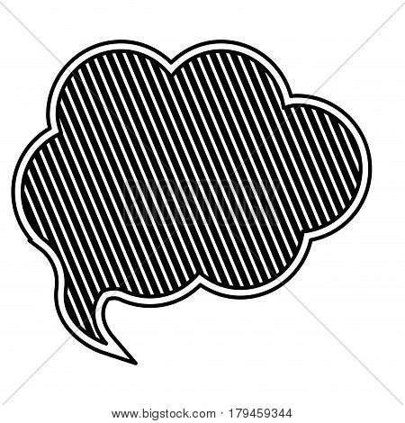 silhouette cloud speech with black background and diagonal lines vector illustration