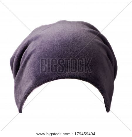 Women's Hat . Knitted Hat Isolated On White Background.purple Hat