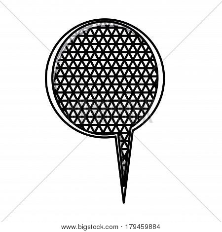 monochrome silhouette with circular speech with mesh background vector illustration