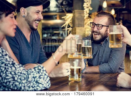 People Enjoy Beverage Beers Cheers