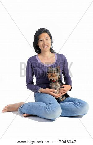 Yorkshire Terrier And Asian Girl