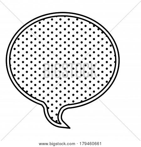 monochrome silhouette with oval speech with dotted background vector illustration
