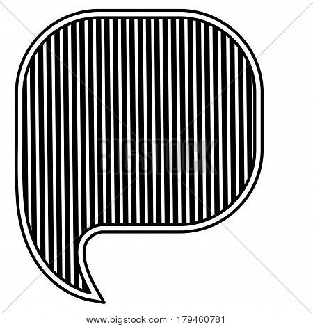 monochrome silhouette with rounded square speech with vertical lines background vector illustration
