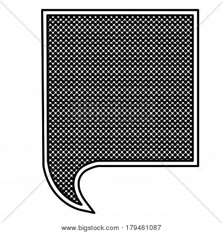 monochrome silhouette with square speech with mesh background vector illustration