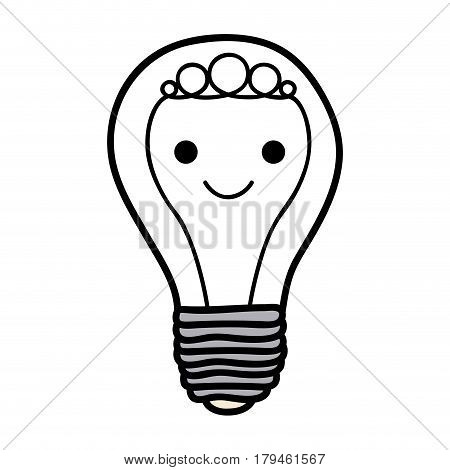 monochrome background of light bulb with filament in shape of cartoon face vector illustration