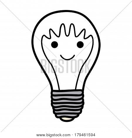 monochrome background of light bulb with filament in shape of cartoon face with waves on head vector illustration