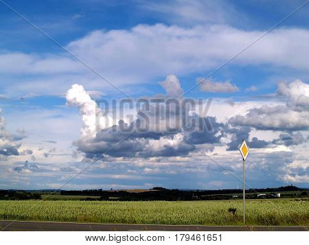 Landscape., Nature, Field, Thunderstorm Clouds, Cumulonimbus, Rainy Weather
