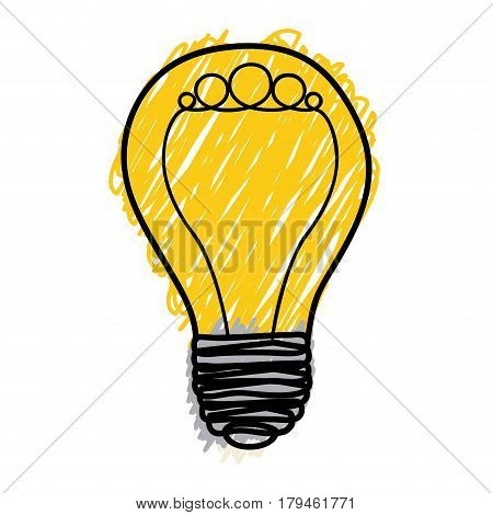 yellow pencil drawing background of light bulb with filament formed by circles vector illustration