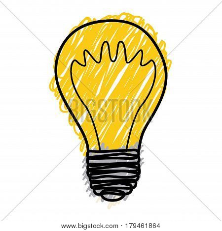yellow pencil drawing background of light bulb with filament in shape of waves vector illustration