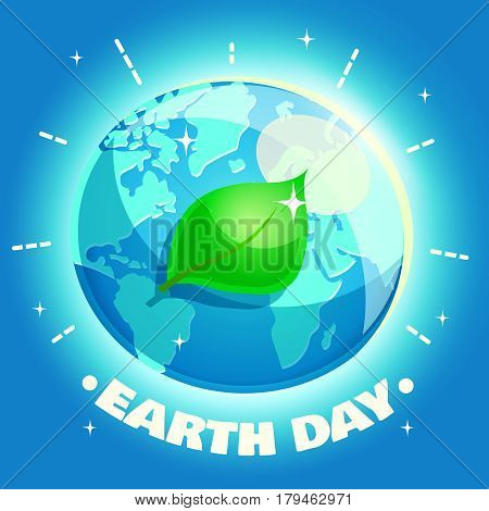 Earth Day Poster. Eco friendly ecology design concept with a planet and a leaf. Vector illustration in retro cartoon style