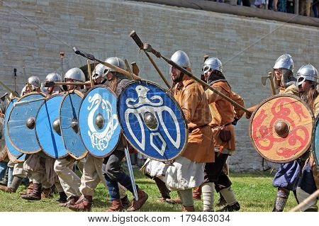 Staraya Ladoga Russia - July 17 2016: Festival The first capital of Russia devoted to the birth of the Russian state in 862. Re-enactment of a medieval battle.