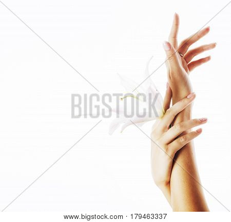 beauty delicate hands with manicure holding flower lily close up isolated on white, spa concept
