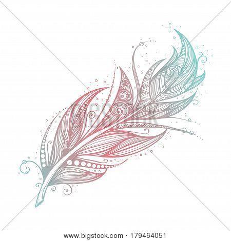 Native American Indian talisman. Vector hand drawn hipster feathers. Boho design, tattoo art.