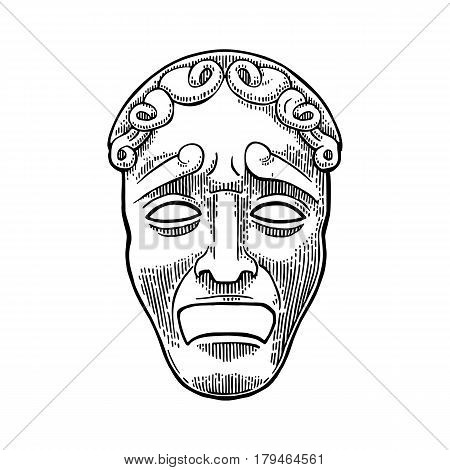 Tragedy theater mask . Vector engraving vintage black illustration. Isolated on white background.