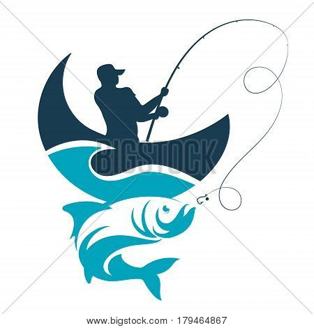 Fishing design for vector. A fisherman catches a boat on a wave.