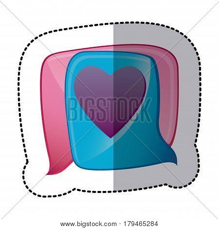 sticker cute bubble beautiful love, vector illustration