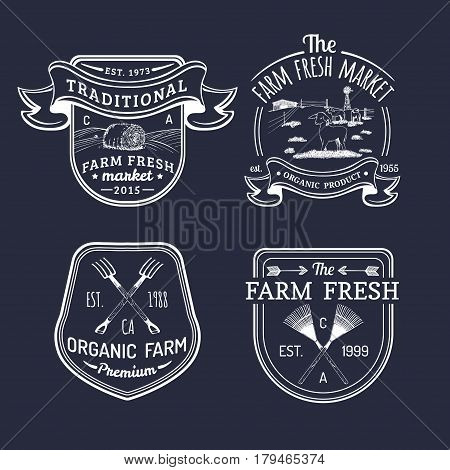 Vector retro set of farm fresh logotypes. Organic premium quality products badges collection. Eco food signs. Vintage hand sketched agricultural equipment labels.