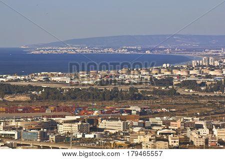 HAIFA, ISRAEL - DEC 25: Panoramic view from Mount Carmel at industrial zone of the Haifa Bay, Haifa, Israel, Dec 25, 2016