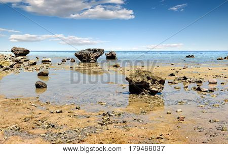Low water on beach of the Red sea