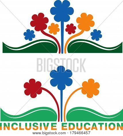 Logo for inclusive education, concept of equality of different people. Book and flowers of different colors.
