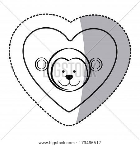 sticker monkey animal inside line heart, vector illustration