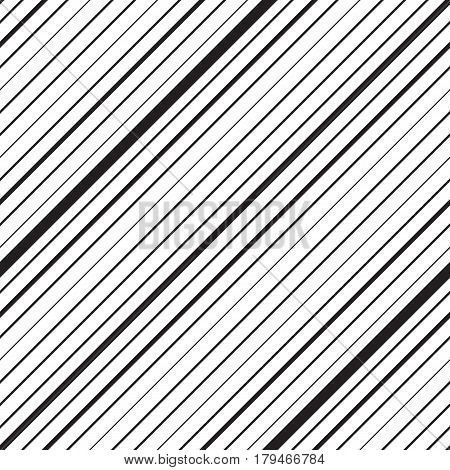 Diagonal striped seamless pattern. Repeating texture with black parallel straight lines on white background. Lined vector illustration.