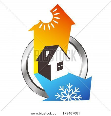 Heating and cooling house air conditioning symbol
