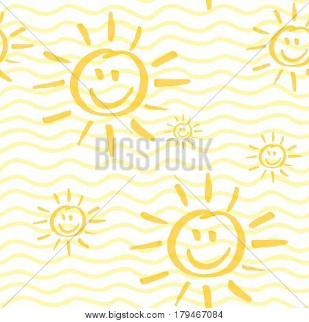 Seamless pattern with smiling sun hand drawn by marker. Sunshine repeating texture in yellow colors. Child cartoon background for prints, textile, wallpapers and wrapping. Vector eps10 illustration.
