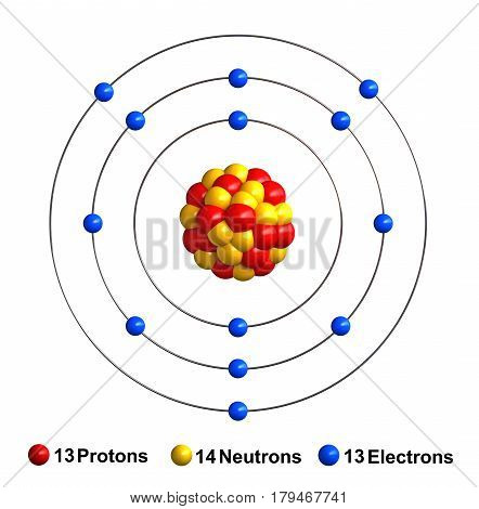 3d render of atom structure of aluminum isolated over white background Protons are represented as red spheres neutron as yellow spheres electrons as blue spheres