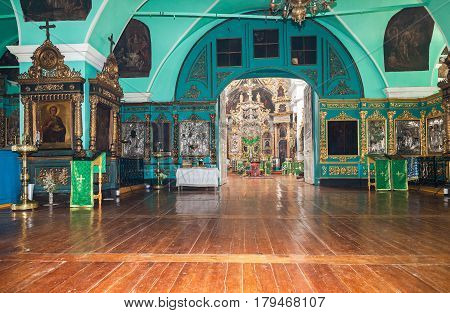 TVER REGION RUSSIA - JULY 12 2014: Interior of the Church of the Holy Face in the village Mlevo. Ancient orthodox icons in the church. Church was founded in 1849