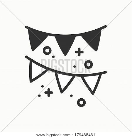 Confetti, tinsel icon. Falling tiny pieces. Party celebration birthday holidays event carnival festive. Thin line party basic element icon. Vector linear design. Illustration. Symbols. Congratulation