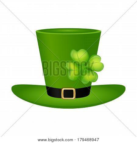 Cylinder hat leprechaun with clover leaf for St. Patrick vector