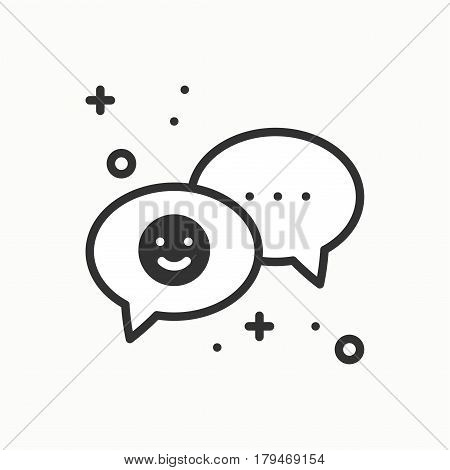 Speech bubble line icon. Conversation chat dialog message question. Thin linear party basic element. Vector simple design. Illustration. Flat symbols, sign