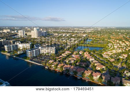 Aerial image of Hollywood Lakes and Beach Florida USA