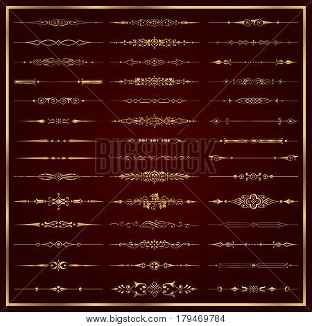 Golden decorative calligraphic dividers for design and page decoration - vector set