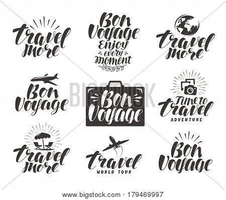 Travel, label set. Journey icons or symbols. Lettering vector illustration isolated on white background