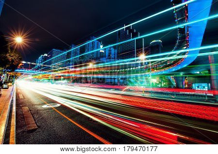 Night car motion in the city Shenzhen