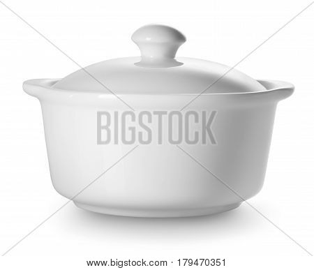 Small ceramic tureen isolated on a white background