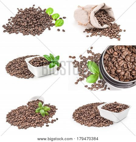 Collage of roast coffee on a white background clipping path
