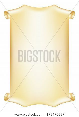Scroll, piece of parchment. Decorative frame for diploma, certificate, card text. Mesh is used.