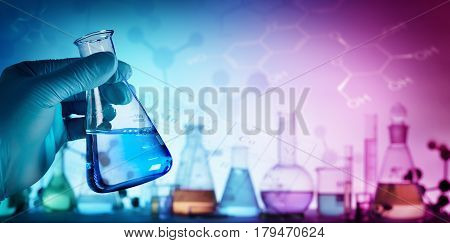Research And Innovation - Beaker With Formula In Laboratory